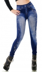 Thermo-Leggings im Jeans-Look mit Schmucknieten - blue washed