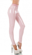 Modische High Waist Thermo-Leggings im sexy Latex-Look - rosa