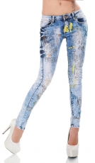 Slim Fit Röhrenjeans im frech glamourösen Punk Look - light blue
