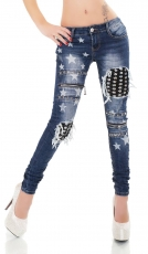 Crazy Vintage-Jeans mit Pailletten-Applikationen und Bleach-Sternen in blue washed