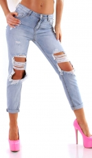 Freche 7/8 Jeans im Fetzen-Look - light blue