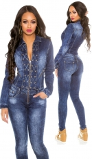 Figurbetronter Jeansoverall mit Schnürleisten in blue washed