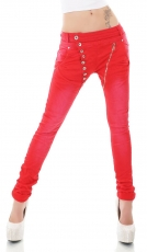Crash-Jeans mit diagonaler Knopfleiste in rot