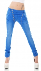 Crash-Jeans mit diagonaler Knopfleiste in royalblau