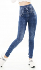 High Waist Leggings im Jeans-Look - blue washed