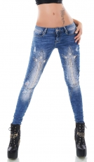 Crash-Jeans mit Vintage-Effekten, Strass-Sternschnuppe und Zier-Zippern in blue washed