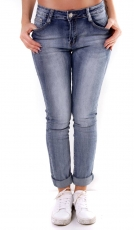 Modische Stretch Skinny Jeans in blue washed