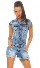 Crazy Hot Pants Jeans Overall mit Zier-Reißverschlüssen in blue washed