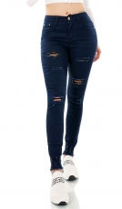 Modische Stretch-Jeans im Used-Look - dunkelblau