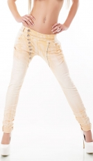 Crash-Jeans mit diagonaler Knopfleiste in apricot