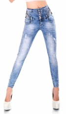 High Waist Skinny Jeans mit Glamour-Effekt in light blue