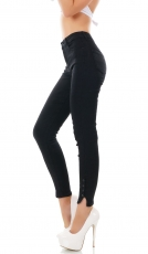 Super Stretch Slim Fit High Waist Jeans mit Druckknopfleiste in schwarz