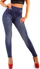 High Waist Thermo Leggings im Jeans-Look - blue washed