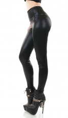 Warme Thermo High-Waist-Leggings im seidig glänzenden Lederlook - schwarz