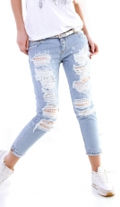Modische Mom Fit Jeans mit Rissen und Glamour-Effekt in light blue