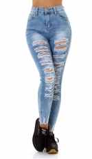 High Waist Slim Fit Skinny-Jeans im sexy Destroyed-Look - blue washed