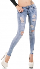 Helle Skinny-Jeans im Destroyed-Look - light blue