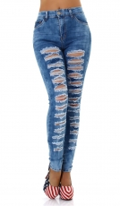 High Waist Skinny Jeans im modischen Used-Look - blue washed