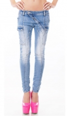 Baggy-Jeans mit diagonalem Verschluss in light blue