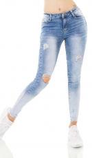 High Waist Skinny Jeans im Used-Look mit Rissen in light blue