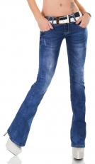 Bootcut-Jeans mit Bleach-Effekten und Stretch-Gürtel in light blue