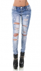 Aktuelle Crash-Jeans im sexy Destroyed-Style - light blue