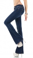 Stretch Bootcut Jeans in dezenter Waschung - dark blue