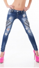 Crash-Jeans mit Vintage-Effekten, Pailletten-Sternen und Zier-Zippern in blue washed
