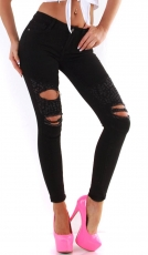 Slim Fit Skinny-Jeans im Destroyed-Look - schwarz