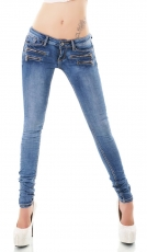 Skinny-Jeans mit süssen Zier-Zippern in smart washed