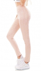 Freche High Waist Sportleggings mit Glamour-Highlights in rosa