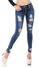 Slim Fit Skinny Jeans im Destroyed-Look - blue washed