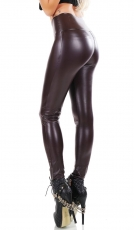 Modische Thermo-Leggings im sexy Wetlook - aubergine