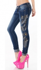 Crash-Jeans mit floraler Stickerei und Strass-Verzierung in dark blue