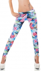 Bunte Stretch-Treggings mit Flaggen-Prints in multicolor