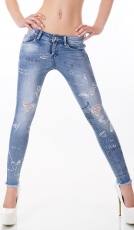 Dünne Stretch-Jeans mit süssen Prints in Selfmade-Optik - light blue