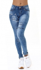 High Waist Skinny Jeans im Used-Look mit Schrift-Prints - light blue