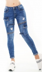 Crash-Jeans mit Zippern und Vintage-Effekten - blue washed
