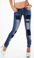 Crash-Jeans mit frechen Bleach-Flicken-Effekten & Hosenträgern in blue washed