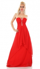 Exclusives Chiffon-Maxikleid mit Chiffon-Schleppe und Strass in rot