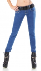 Slim Fit Skinny Jeans inkl. breitem Stretch-Gürtel in smart washed