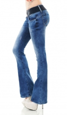 Modische Bootcut-Jeans inkl. Stretch-Gürtel in dark blue