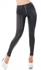 Sexy Wetlook-Leggings mit Zipper -  schwarz