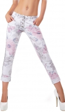 Crash-Jeans im Flower-Design mit diagonaler Knopfleiste in rosa / grau