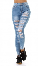 High Waist Skinny Jeans im sexy Destroyed-Look - blue washed