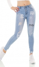 Stretch-Jeans im Used-Look mit Schrift-Prints - light blue