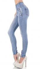 High Waist Stretch-Jeans mit eleganten Schmucknieten in blue washed