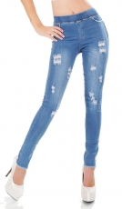 Hautenge Jeggings mit Vintage-Effekten in light blue