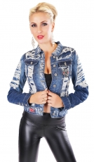 Destroyed-Jeansjacke mit frechen Patches in blue washed