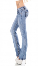 Stretch-Jeans Flap Pokets und Kontrastnähte in light blue